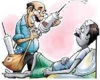 سنجھورو:عطائی ڈاکٹروں اور میڈیکل اسٹور کی بندش کے خلاف سول سوسائٹی کا مظاہرہ