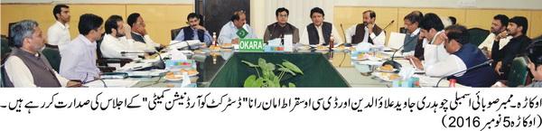 اوکاڑہ: پنجاب حکومت دیہی علاقوں میں تعمیر و ترقی کے لئے بھر پور اقدامات کر رہی ہے. ممبران پارلیمنٹیرین