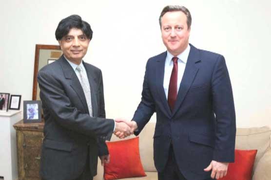 وزیرِداخلہ چوہدری نثار کی سابق برطانوی وزیرِ اعظم ڈیوڈ کیمرون سے ملاقات